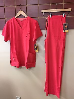 NEW Carhartt Hibiscus Solid Scrubs Set With Medium Top & Medium Tall Pants NWT