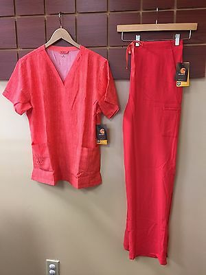 NEW Carhartt Hibiscus Print Scrubs Set With Large Top & Large Tall Pants NWT