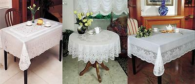 Vinyl White Embossed Lace Tablecloth Table Cover Various Sizes and Designs