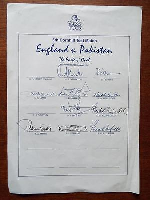 5th Cornhill Test Match England v Pakistan 1992, autographed England team sheet.
