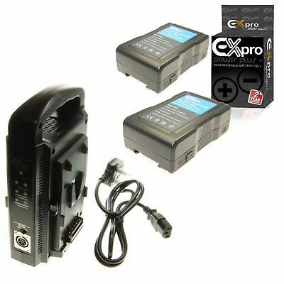 Ex-Pro BP-150W 150wh LED Light V-Mount Lock Battery x2 +Dual Channel Charger