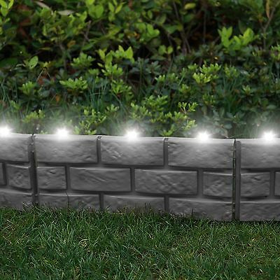 8 x Brick Effect Garden Edging With LED Light - Grey