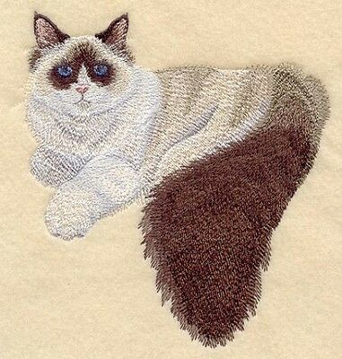 Embroidered Long-Sleeved T-Shirt - Ragdoll Cat C7934