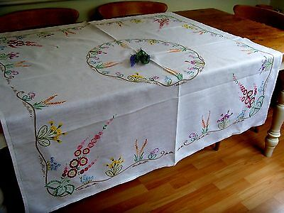 Gorgeous Vintage Large Floral Tablecloth Hand Embroidered Primulas Hollyhocks