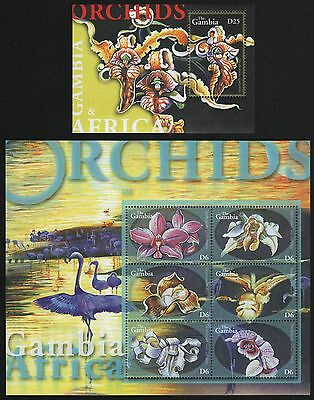 Gambia 2001 - Mi-Nr. 4471-4476 & Block 568 ** - Orchideen / Orchids