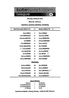 Teamsheet - West Bromwich Albion Reserves v Burton Albion Reserves 2009/10
