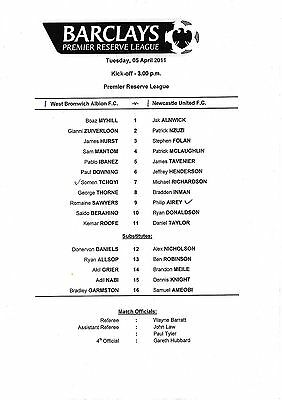 Teamsheet - West Bromwich Albion Reserves v Newcastle United Reserves 2010/11