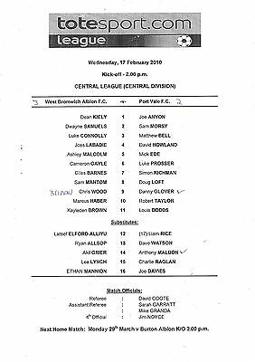 Teamsheet - West Bromwich Albion Reserves v Port Vale Reserves 2009/10
