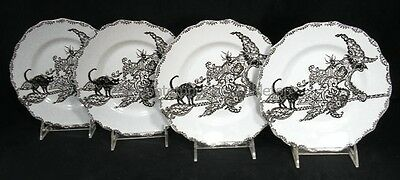 "NEW! 222 Fifth China WICCAN LACE - WITCH (4) Halloween Plates 8-1/2"" black cat"