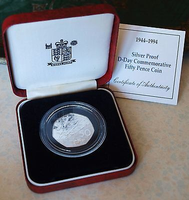 1994 50p Fifty Pence Silver Proof Coin COA Boxed D-Day Royal Mint