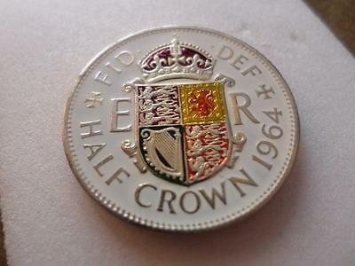 Vintage Hand Painted Half Crown Coin 1964. Birthday Or Xmas Present. Lucky Charm