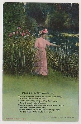 "Song Card postcard - ""Speak On, Sweet Voices"" by Bamforth - Card No. 4581 (3)"