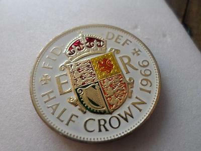 Vintage Hand Painted Half Crown Coin 1966. Birthday Or Xmas Present. Lucky Charm