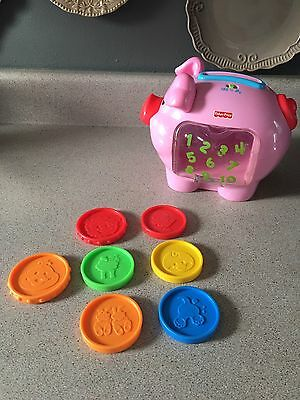 Fisher Price Laugh & Learn Piggy Bank Musical Talking Pig (7) Coins Toy Figure