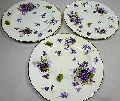 Vintage Hammersley Victorian Violets Side Plates /Bread and Butter plates x 3