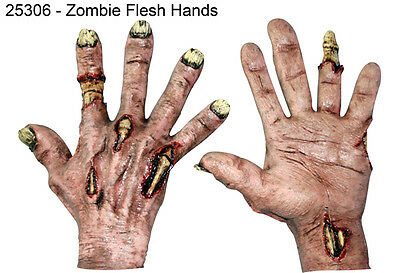 Hands Zombie Flesh Pair Halloween Living Dead Fancy Dress Accessory