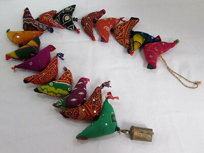 "Ethnic Bird with Bell on a String 16 birds 1 bell 45"" long Wall Hanging Decor"