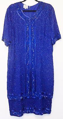 Stenay Women's Costume Dress 20 Solid Royal Blue 100% Silk Short Sleeve