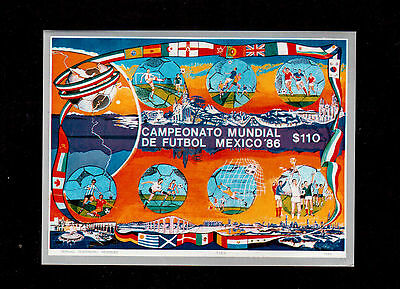 Mexico 1986 #1444 Souvenir Sheet Vf Nh, World Cup Soccer Championships !!
