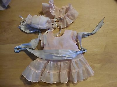 original vintage sheer light pink w/ blue ribbons doll dress,outfit~circa 40's