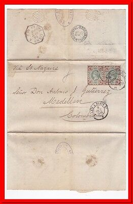Great Britain to Colombia QV 4d Pair 1888 Folded cover Ligne Paq. Fr. No 2