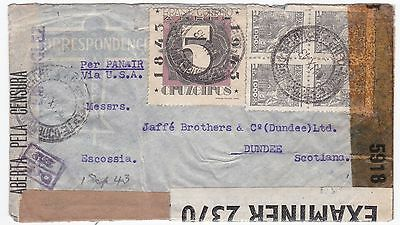 Brazil to Scotland 1943 Triple Censored Cover WWII Panair
