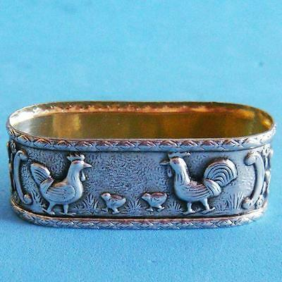 L@@k Vintage Sterling SILVER Farm Birds Chickens with Baby Chicks Napkin Ring!