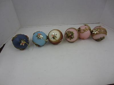 Lot of 6 Beautiful Vintage WAX BALL Christmas Ornaments Made in Western Germany