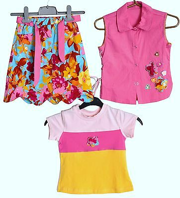 Gorgeous Unique Summer Girls 3 Piece Outfit Set Skirt T-Shirt Blouse Pink Cotton