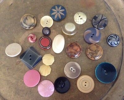 24 Vtg Celluloid & other old plastic buttons, variety of shapes, sizes, colors