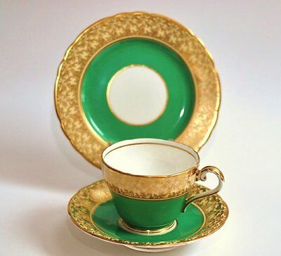 Aynsley Tea cup saucer Tea plate trio English vintage china tea party Green Gold