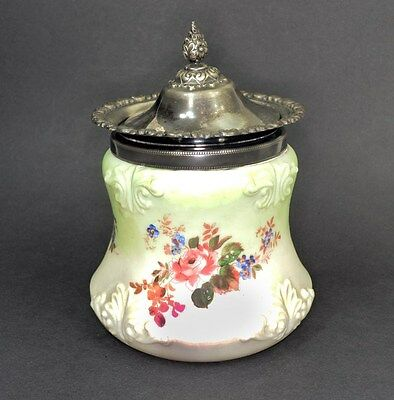 cracker biscuit cookie jar Mt Washington Glass silver plate top antique original