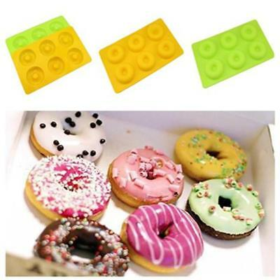 6 Cavity Silicone Donuts Mould Chocolate Candy Muffin Candy Making Molds Tray CB