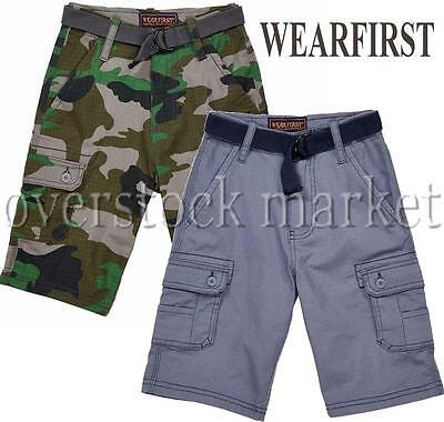 583f8ec0b6 Young Boys Wearfirst Belted Cargo Shorts! Casual Boys Shorts! Variety