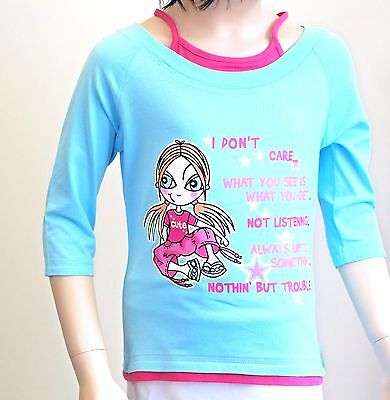 NEXT Girls T-shirt Blue Pink Cropped Short Summer Holiday Don't Care Attitude BN