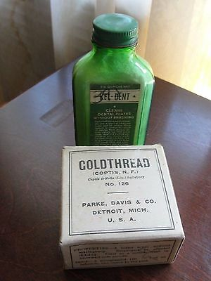 Vintage Dental Kel Dnt Green Glass Bottle Powder Cleaning and Coldthread