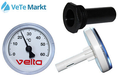 "Velta Bimetall Thermometer 0-60°C 50mm, mit Tauchhülse 1/2"" x 40mm, 1005097"