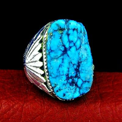 Robert Leekya Sterling Silver Men's Turquoise Ring Size 11,5 --- R41 A T