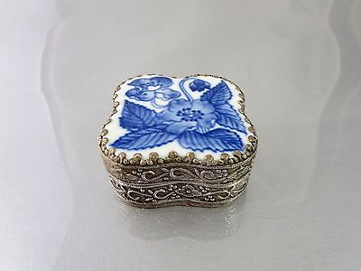 Vintage CHINESE PORCELAIN  SHARD SILVER METAL TRINKET BOX