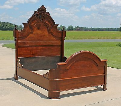 Stately Victorian Renaissance Revival Walnut Highback Full Size Bed Circa1865