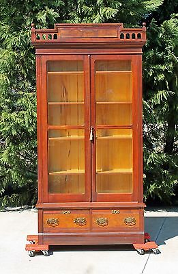 Tall Victorian Eastlake Walnut Stepback Bookcase with Carved Gallery & Key c1880
