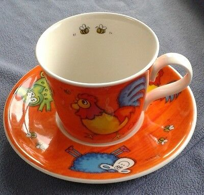 Dunoon Pottery Cup & Saucer: Large: Funky Farm: Brookshaw