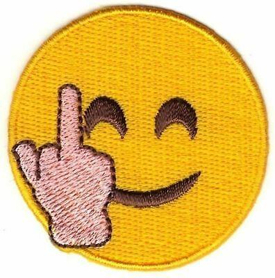 """2"""" Smiley Face Middle Finger Emoji Sew On Patch"""