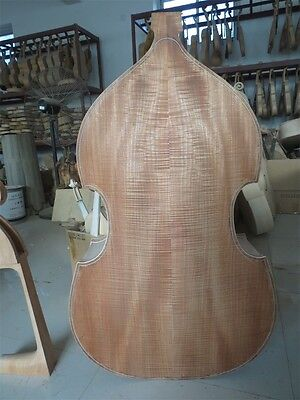 Hand carved white/unfinished 4/4 upright double bass spurce top