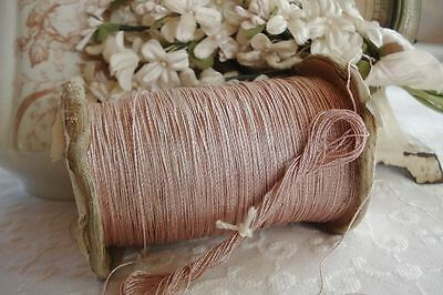 1y VINTAGE FRENCH PINK SILVER METAL METALLIC EMBROIDERY THREAD FLOSS FLY TYING