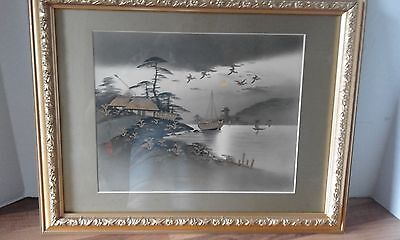 japanese art framed picture of a lake  embelished in gold paint