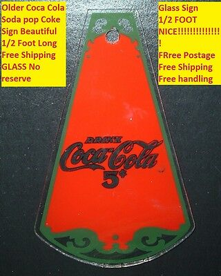 Coca Cola Soda Pop Coke Sign Glass Free Shipping 1/2 Foot NICE Free Postage