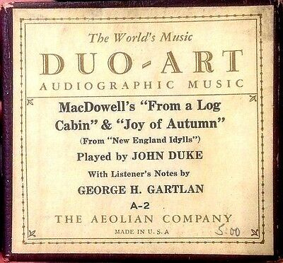 DUO-ART Audiographic FROM A LOG CABIN & JOY OF AUTUMN Duke A-2 Player Piano Roll