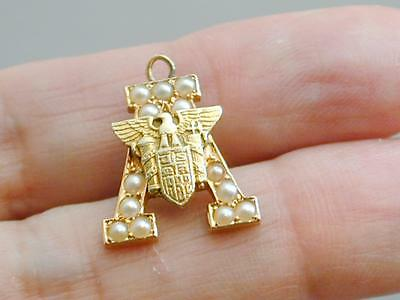 RARE 14k 1932 West Point Military Academy Letter A Seed Pearl Charm
