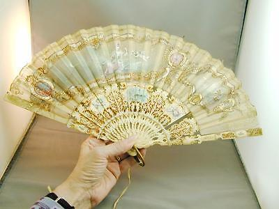 Victorian Hand Painted Hand Fan Scenes Sequins Woman Cherub Putti Birds Signed